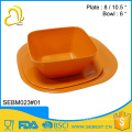 home set melamine dinner square bowl and plate bamboo tableware