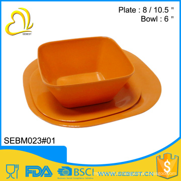 домашний набор меламина ужин квадратная миска и тарелка бамбук посуда