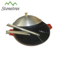 Wok do ferro fundido do óleo vegetal ajustado com tampa