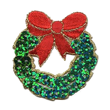 Xmas Poinsettia Flower Embroidered Applique Patch