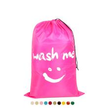 big capacity reusable nylon hospital laundry bag print logo washable hotel travel laundry bag