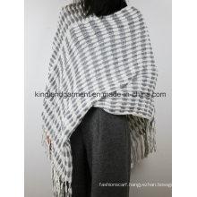 Acrylic Fashion Lady Winter Warm White/Gray Striped Fringed Knitted Cloak