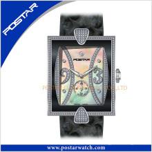 Encantador reloj de mujer de cuero de acero inoxidable con movimiento suizo
