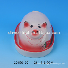 Decorative ceramic animal butter dish with pig shaped lid