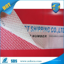 Etiqueta de seguridad / tamper Etiqueta VOID / sello de prueba de manipulación de la botella