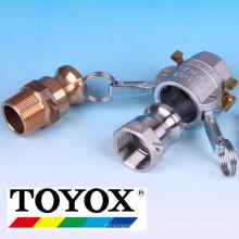 Coupleur de bras à cames OPW Kamlock en aluminium, acier inoxydable, PP et bronze. Fabriqué par Toyox. Fabriqué au Japon