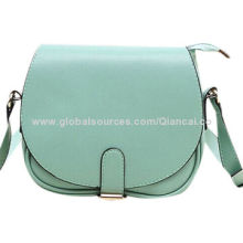 Messenger shoulder bags made of many shining colors PU with bucket flap closure, long shoulder bag