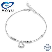 925 prata esterlina pulseira cadeia de coração