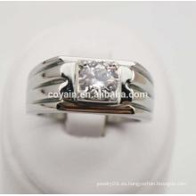 Clásico CZ piedra de acero inoxidable compromiso de boda anillo