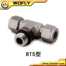 Conector de 3 vias em aço inoxidável de derivação macho