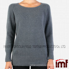 Последние разработки Зимний свитер женщин, серый круглый шею кашемир