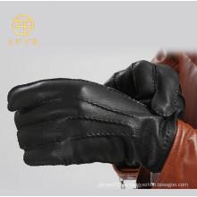 Alto grado negro clásico de color hombres de negocios piel de ciervo guantes de cuero