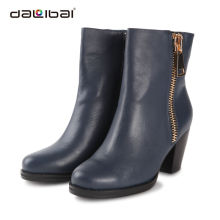 Navy blue winter ankle boots for women