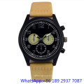 Top-Quality Stainless Steel Quartz Watch with Genuine Band, Man Chronograph Watches (HLJA-15176)