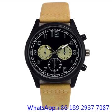 Top-Quality Alloy Quartz Men′s Watch Leather Band Blue Dial Japan Chronograph (15172)