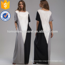 Color Block Full Length Dress With Pockets Manufacture Wholesale Fashion Women Apparel (TA3179D)