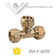 EM-F-A099 Messing-T-Rohr-Kompressionsanschluss Innengewinde-Rohrverschraubung