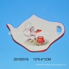 2016 ceramic new monkey items ceramic teabag holder with monkey painting
