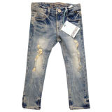 Girls' fashionable jeans with embroidered inside waist aging wash + destroy effect