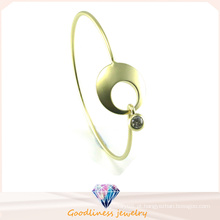 Moda belo punk ouro e prata círculo braçadeira bracelete de prata 925 (g41331)