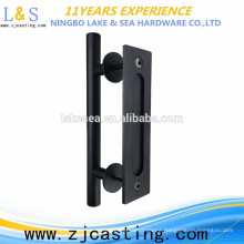 Made in China new design barn door handle black steel,door hardware