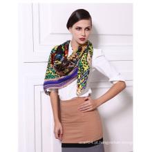 Twill tecido de lã de tecido impresso cachecol das mulheres elegantes