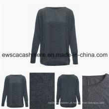 Camisola de caxemira pura de grau superior de estilo Casual em torno do pescoço das mulheres