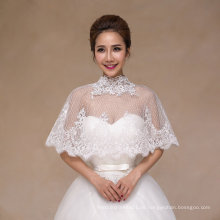 High Neck Braut Schal mit handgefertigten Lace Appliques