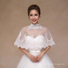 Chal de novia de cuello alto con apliques de encaje hechos a mano