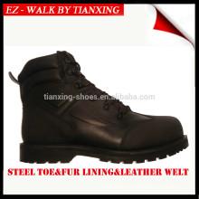Botas de trabalho de inverno de 6 polegadas com dedo de pé de aço e forro de pele genuína