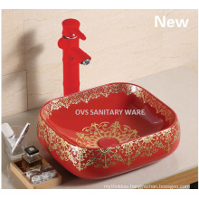 Hot sale ceramic red kittchen sink