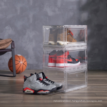 Plastic Sneaker Stackable Storage Transparent Boxes Drop Front Custom Wholesale Drawer Type Magnetic Clear Shoe Box