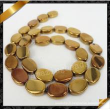 Pierres naturelles, perles de pierres précieuses avec placage, perles de pierres précieuses ovales (YAD026)