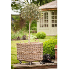 RAPL-010 Hot selling summer season Poly Rattan Outdoor Decor Square Flower Planter with Wheels