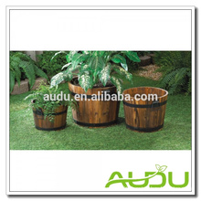 Audu Wood Planter Boxes,Planter Boxes,Wood Barrel Planter