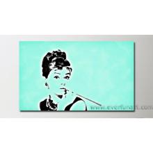 Peinture à l'huile de Mordern Pop Art Audrey Hepburn (PO-004)