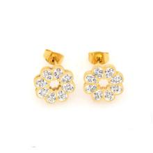 Custom gold stainless steel stud earrings, gold crystal flower stud earrings jewelry