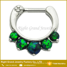 Greenish Blue Synthetic Opal Stainless Steel Indian Nose Piercing Jewelry