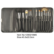12pcs black plastic handle animal/nylon hair makeup brush kit with black PU purse