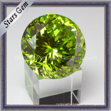 Twinkle Jelly Green Round Shape Big Size Cubic Zirconia