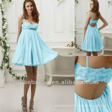 Youth Blue Spaghetti Straps A Line Ruched Handmade Flower Beads Party Dress Cocktail Dress
