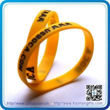 Importez les bracelets faits sur commande de silicone de cadeaux de publicité de produits de la Chine (HN-SB-0090)