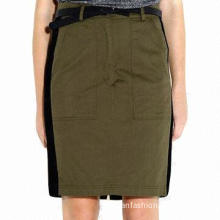 Army green midi pattern skirt/OL fashionable skirt, cotton