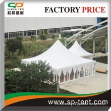 Outdoor high peak pavilion wedding pagoda tent marquee tent 10x10m decorated with curtains & linings and floor