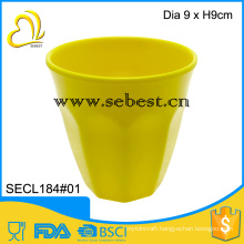 "newest style 3.5"" melamine yellow round shape water tumbler"