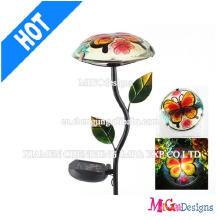 OEM metal y vidrio luces solares hongos Garden Stakes