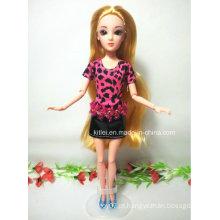 Personalizado 3D princesa boneca cabelo loiro plástico crianças brinquedo de Natal