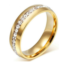 8mm Titanium 18K Gold Plated Wedding Ring with Channel Set CZ Finger Ring