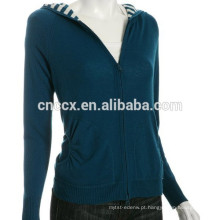 15STC6804 listrado forro camisola de cashmere com capuz mulheres
