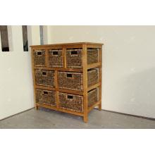 Diseño exótico Cabina de almacenamiento de jacintos de agua natural Muebles de mimbre de interior